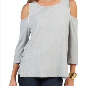 Tart gray cold shoulder blouse size medium